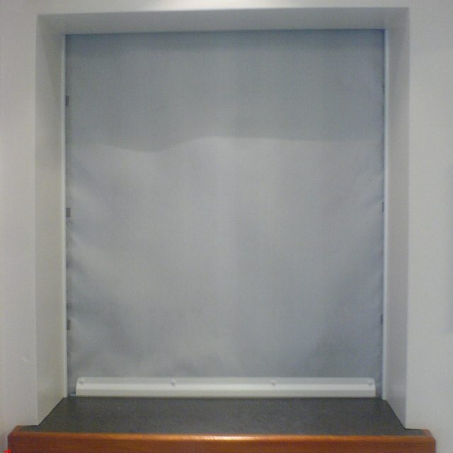 White rolling fire curtain