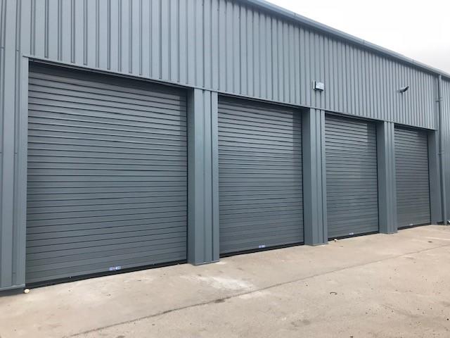 4 grey roller shutters