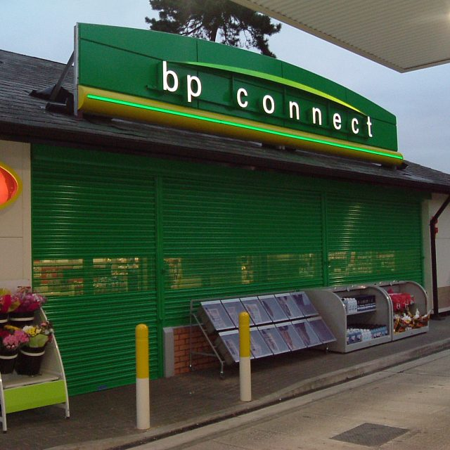 Perforated Roller Shutters for bp connect petrol station store